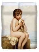 Nude Child With Dove Duvet Cover by Leon Bazile Perrault