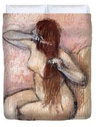 Nude Seated Woman Arranging Her Hair Femme Nu Assise Se Coiffant Duvet Cover by Edgar Degas