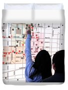 Nuit Blanche Map Duvet Cover by Valentino Visentini