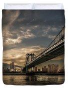 Nyc - Manhatten Bridge - Hdr- Sun Duvet Cover by Hannes Cmarits