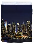 NYC Skyline Full Moon Panorama Duvet Cover by Susan Candelario