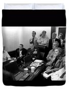 Obama In White House Situation Room Duvet Cover by War Is Hell Store