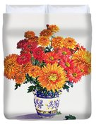 October Chrysanthemums Duvet Cover by Christopher Ryland
