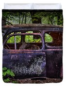 Old Abandoned Car In The Woods Duvet Cover by Paul Freidlund