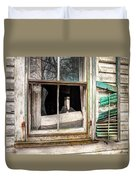 Old Broken Window And Shutter Of An Abandoned House Duvet Cover by Gary Heller