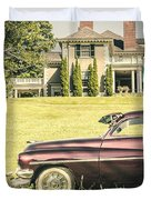 1951 Mercury Sedan In Front Of Large Mansion Duvet Cover by Edward Fielding