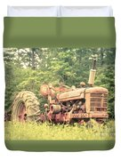 Old Farmall Tractor At Sunrise Duvet Cover by Edward Fielding