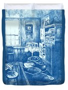 Old Fashioned Kitchen In Blue Duvet Cover by Kendall Kessler