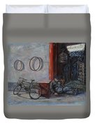 Old Man And His Bike Duvet Cover by Xueling Zou