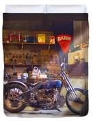 Old Motorcycle Shop 2 Duvet Cover by Mike McGlothlen