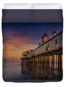 Old Orchard Beach Pier Sunset Duvet Cover by Susan Candelario
