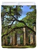 Old Sheldon Church Ruins 2 Duvet Cover by Reid Callaway
