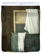 Old Washboard Laundry Days Duvet Cover by Edward Fielding