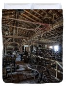 OLD WEST WAGON STORAGE and SHOP Duvet Cover by Daniel Hagerman