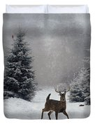 On A Snowy Evening Duvet Cover by Lianne Schneider
