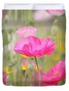 On A Summer Day - Pink Poppy Duvet Cover by Kim Hojnacki