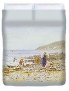 On The Beach Duvet Cover by Helen Allingham