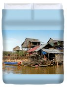 On The Shores Of Tonle Sap Duvet Cover by Douglas J Fisher