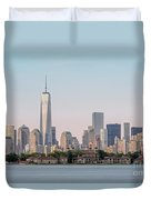 One World Trade Center And Ellis Island 2 Duvet Cover by Susan Candelario