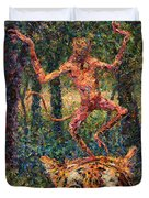 Only A Crazy Monkey Dances On A Tiger's Head Duvet Cover by James W Johnson