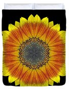 Orange and Yellow Sunflower Flower Mandala Duvet Cover by David J Bookbinder