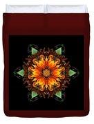 Orange Gazania IIi Flower Mandala Duvet Cover by David J Bookbinder