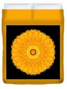 Orange Nasturtium Flower Mandala Duvet Cover by David J Bookbinder