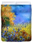 Orange Tree And Blue Cornflowers Duvet Cover by Pol Ledent