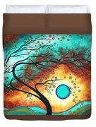 Original Bold Colorful Abstract Landscape Painting Family Joy II By Madart Duvet Cover by Megan Duncanson
