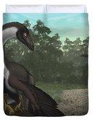 Ornithomimus Mother Dinosaur Duvet Cover by Vitor Silva