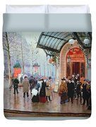 Outside The Vaudeville Theatre Duvet Cover by Jean Beraud