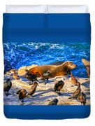 Pacific Harbor Seal Duvet Cover by Jim Carrell