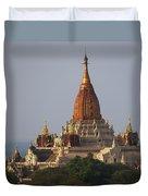 Pagoda In Bagan, Upper Burma Myanmar Duvet Cover by Chris Caldicott