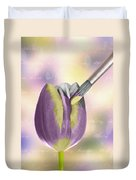 Painting A Tulip Duvet Cover by Amanda Elwell