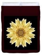 Pale Yellow Gerbera Daisy I Flower Mandala Duvet Cover by David J Bookbinder
