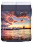 Palm Beach Harbor With West Palm Beach Skyline Duvet Cover by Debra and Dave Vanderlaan
