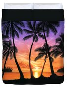 Palm Beach Sundown Duvet Cover by Andrew Farley