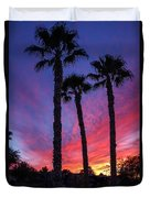 Palm Trees Sunset Duvet Cover by Robert Bales
