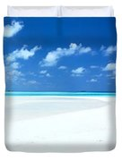 Panorama of deserted sandy beach and island Maldives Duvet Cover by Matteo Colombo
