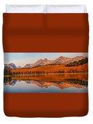 Panoramic Of Little Redfish Lake Duvet Cover by Robert Bales
