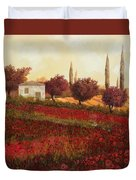 Papaveri In Toscana Duvet Cover by Guido Borelli
