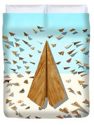 Paper Airplanes Of Wood 10 Duvet Cover by YoPedro