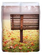 Park Bench In Autumn Duvet Cover by Edward Fielding