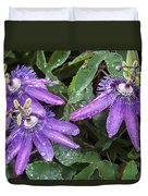 Passion Vine Flower Rain Drops Duvet Cover by Rich Franco