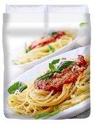 Pasta And Tomato Sauce Duvet Cover by Elena Elisseeva