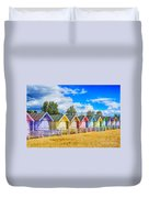 Pastel Beach Huts Duvet Cover by Chris Thaxter