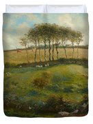 Pasture Near Cherbourg Duvet Cover by Jean-Francois Millet