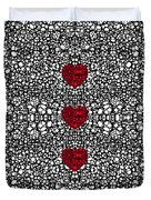Pattern 34 - Heart Art - Black And White Exquisite Patterns By Sharon Cummings Duvet Cover by Sharon Cummings