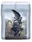 Peace Sculpture In New York Duvet Cover by Daniel Hagerman