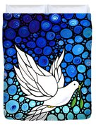 Peaceful Journey - White Dove Peace Art Duvet Cover by Sharon Cummings